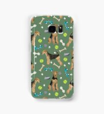 Airedale Terrier Dog toys tennis balls pattern dog breed customized pet portrait by pet friendly  Samsung Galaxy Case/Skin