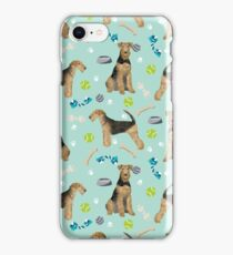 Airedale Terrier Dog toys balls pattern dog breed customized pet portrait by pet friendly iPhone Case/Skin