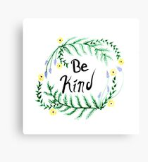 Be Kind Watercolor Nature Graphic Canvas Print
