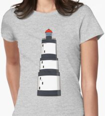 Black and white lighthouse Womens Fitted T-Shirt