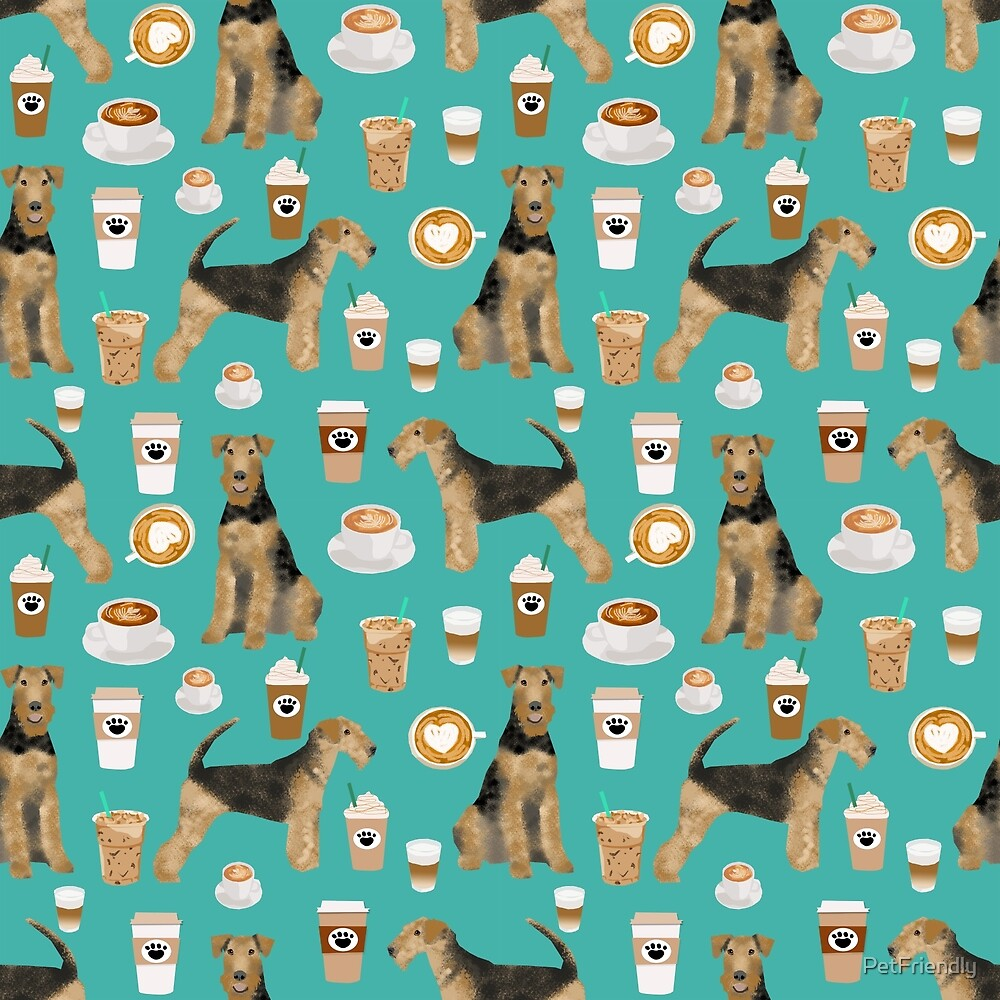 Airedale Terrier Dog coffee pattern dog breed customized pet portrait by pet friendly by PetFriendly