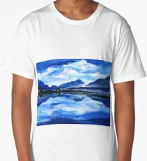 Original Oil Painting of the twilight on mountain lake. Altai Long T-Shirt