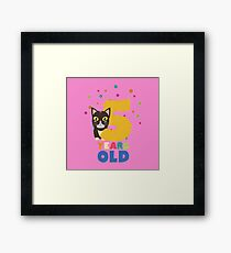 Five Years fifth Birthday Party Cat R3mib Framed Print
