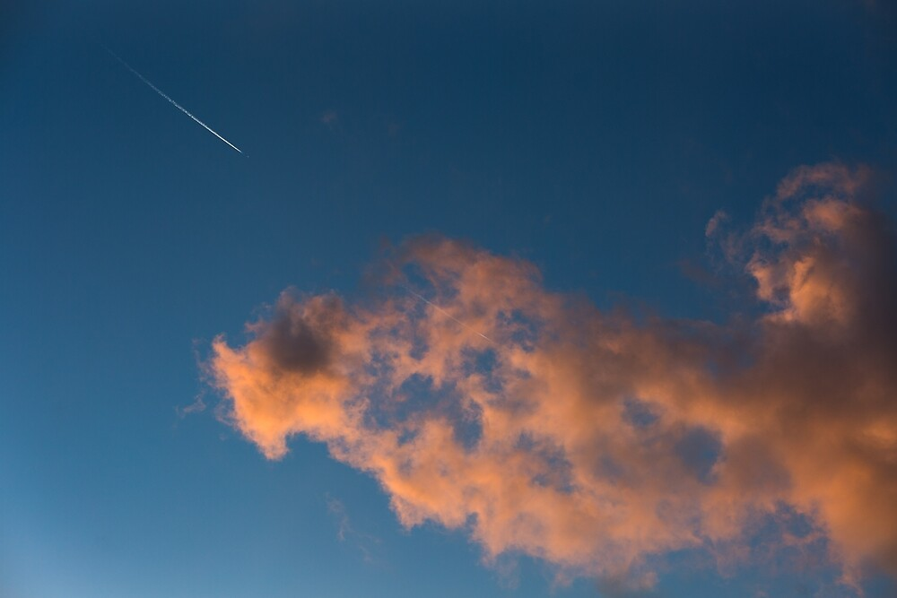 sunset sky with clouds and shooting star by Layuee