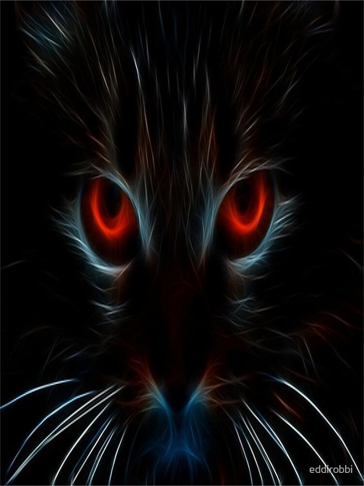 cat, white, neon, fractal, psychedelic, art, animal, wild, black by eddirobbi