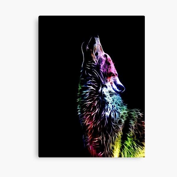 wolf, white, neon, fractal, psychedelic, art, animal, wild, black Canvas Print