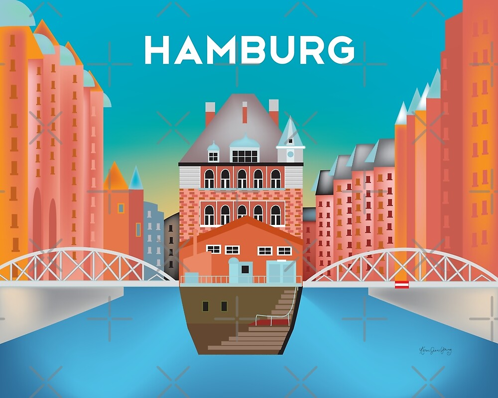 Hamburg, Germany - Skyline Illustration by Loose Petals by LoosePetals