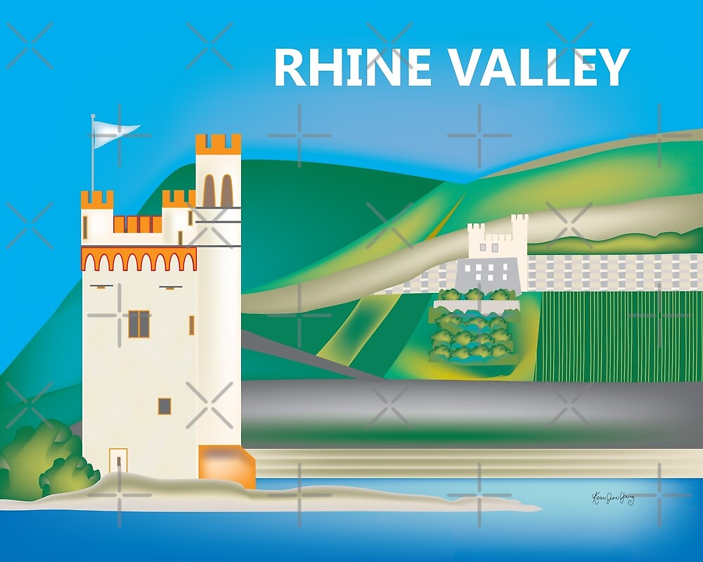 Rhine Valley, Germany - Skyline Illustration by Loose Petals by LoosePetals