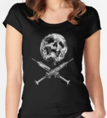 Skull with Crossed Syringes Women's Fitted Scoop T-Shirt