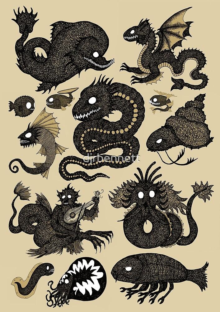 Assorted Sea Monsters 2 by djrbennett