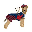 Airedale Terrier bagpiper scotland cute dog breed design illustration by PetFriendly