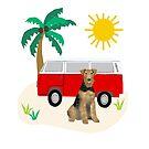 Airedale Terrier beach summer hippie minibus cute dog breed design illustration by PetFriendly