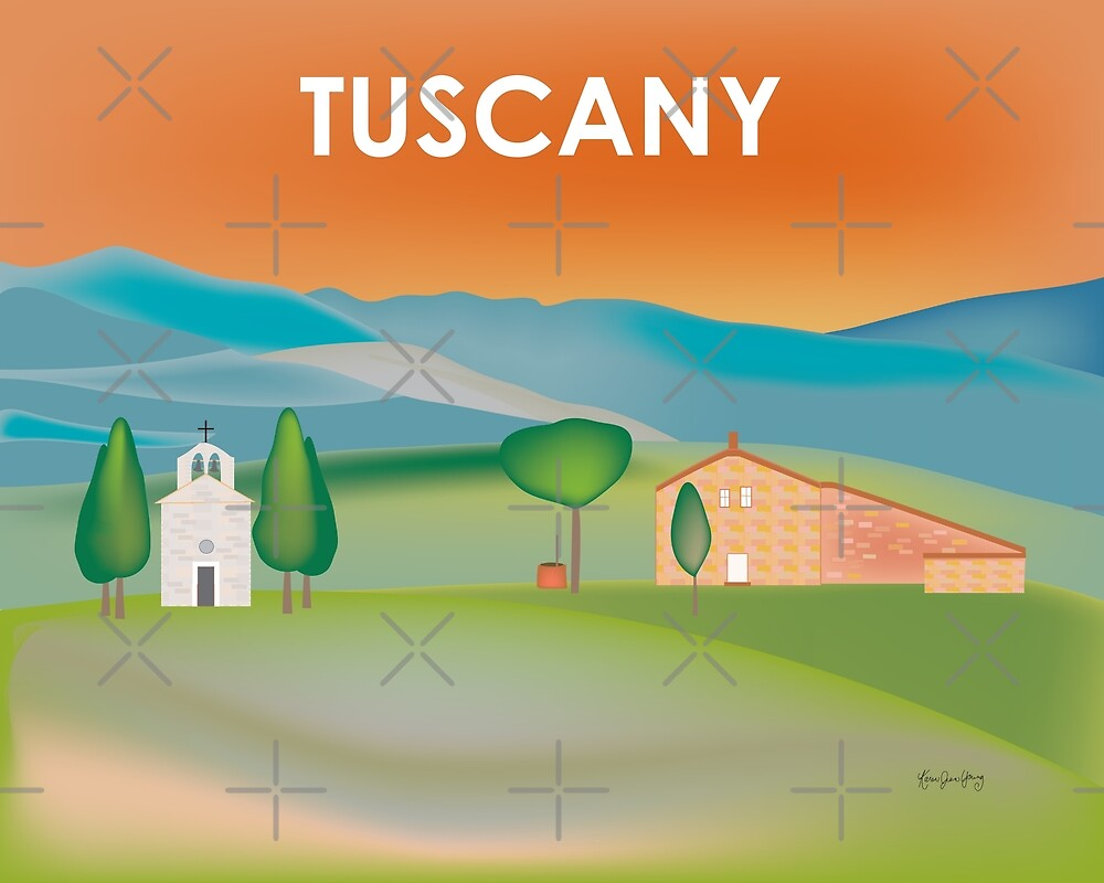 Tuscany, Italy - Skyline Illustration by Loose Petals by LoosePetals