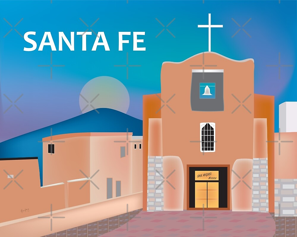 Santa Fe, New Mexico - Skyline Illustration by Loose Petals by LoosePetals
