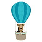 Airedale Terrier  summer hot air balloon cute dog breed design illustration by PetFriendly