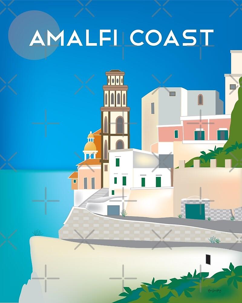 Amalfi Coast, Italy - Skyline Illustration by Loose Petals by LoosePetals
