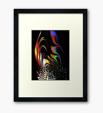 fire, abstract, color, smoke, water, waves, white, neon, fractal, psychedelic, art, wild, black Framed Print