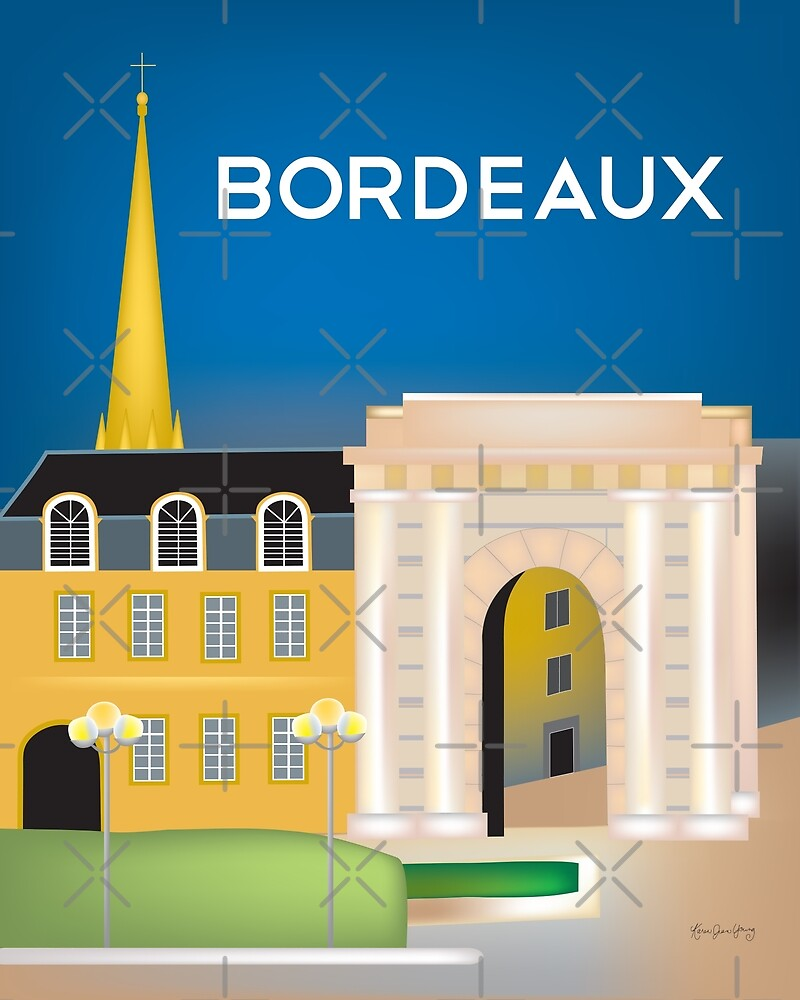 Bordeaux, France - Skyline Illustration by Loose Petals by LoosePetals