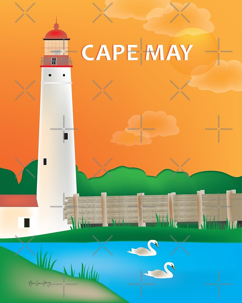 Cape May, New Jersey - Skyline Illustration by Loose Petals by LoosePetals