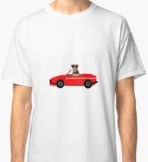 Airedale Terrier sports car cute dog breed design illustration Classic T-Shirt