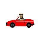 Airedale Terrier sports car cute dog breed design illustration by PetFriendly