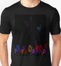 butterfly, abstract, colorful, waves, white, neon, fractal, psychedelic, art, wild, black Unisex T-Shirt
