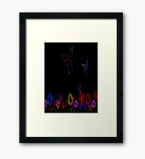 butterfly, abstract, colorful, waves, white, neon, fractal, psychedelic, art, wild, black Framed Print