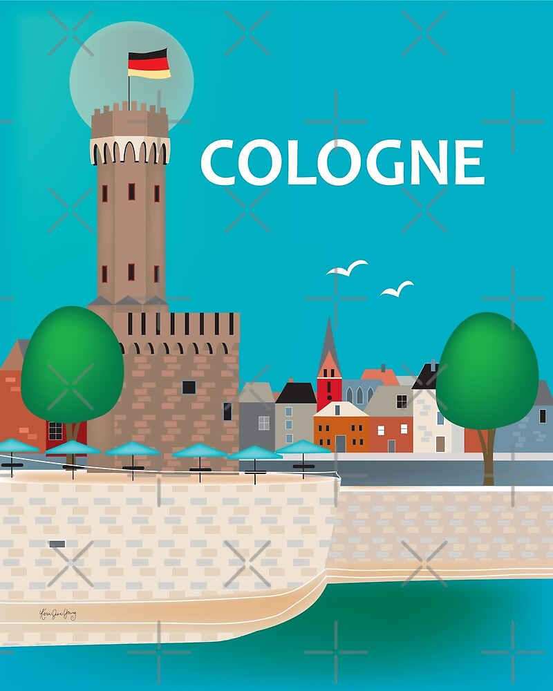 Cologne, Germany - Skyline Illustration by Loose Petals by LoosePetals