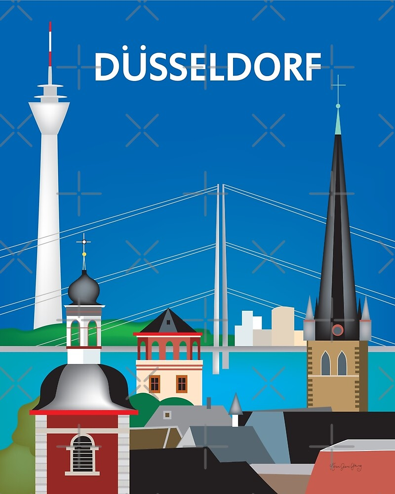 Dusseldorf, Germany - Skyline Illustration by Loose Petals by LoosePetals