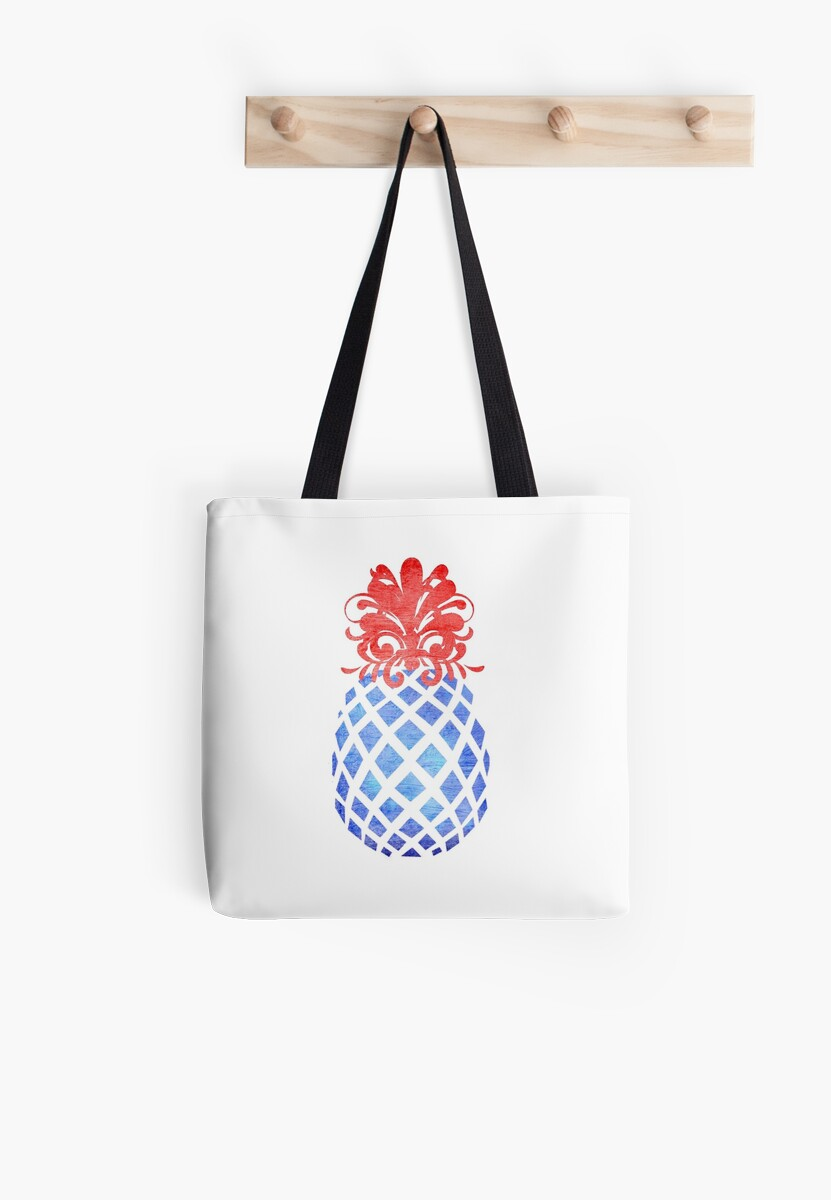 Patriotic Pineapple USA America red white and blue by Lori Worsencroft