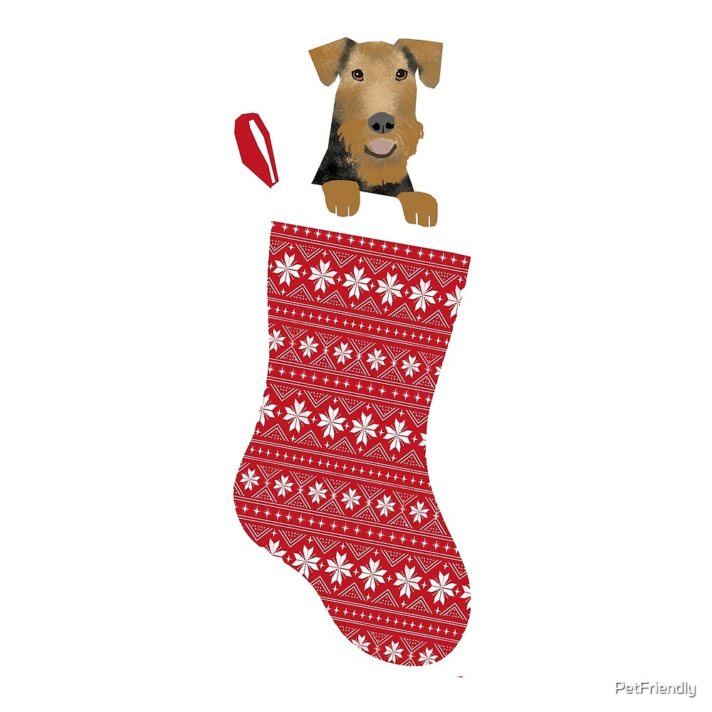 Airedale Terrier christmas stocking cute dog breed design illustration by PetFriendly