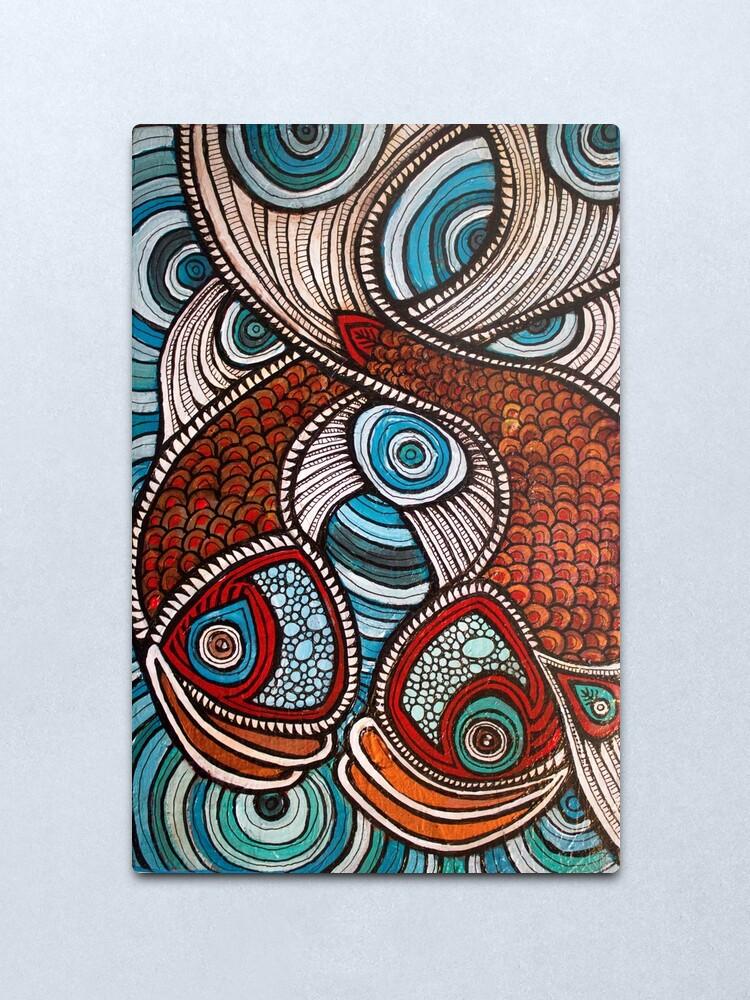 Alternate view of Splashing Fish Metal Print