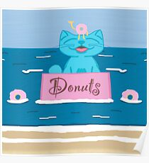 Milo In Donut Box At The Beach Poster