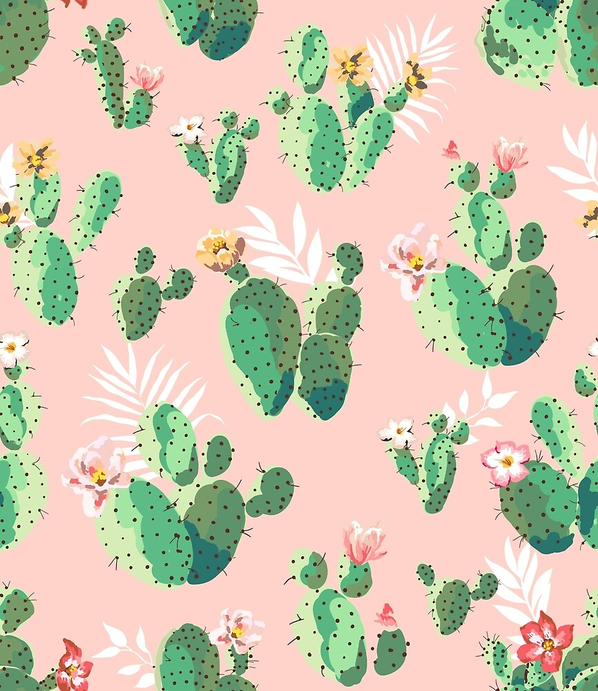 Cute Watercolor Cactus Print by acanthic