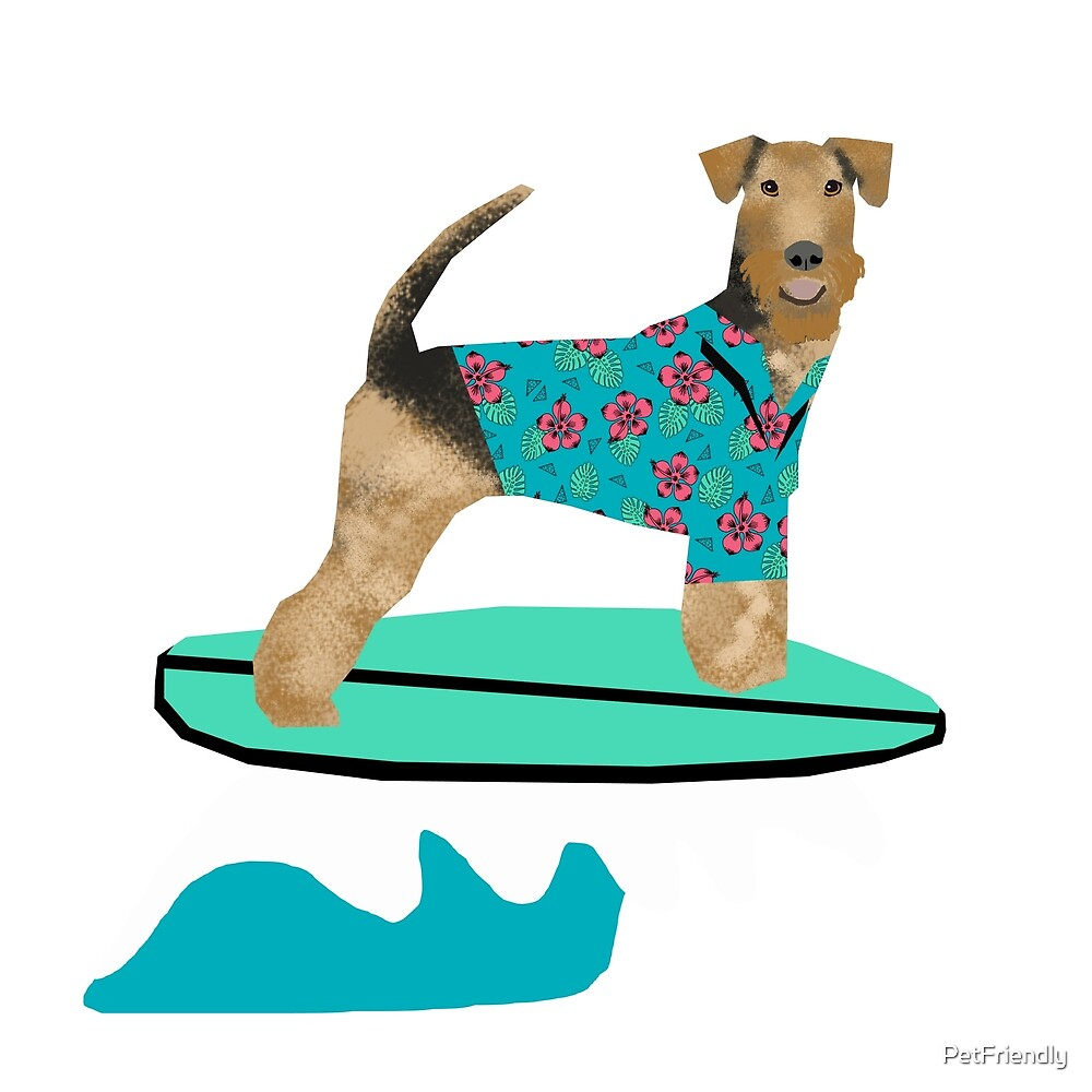 Airedale Terrier summer surfer cute dog breed design illustration by PetFriendly