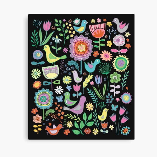 Birds and blooms - pastels on black - pretty floral bird pattern by Cecca Designs Canvas Print
