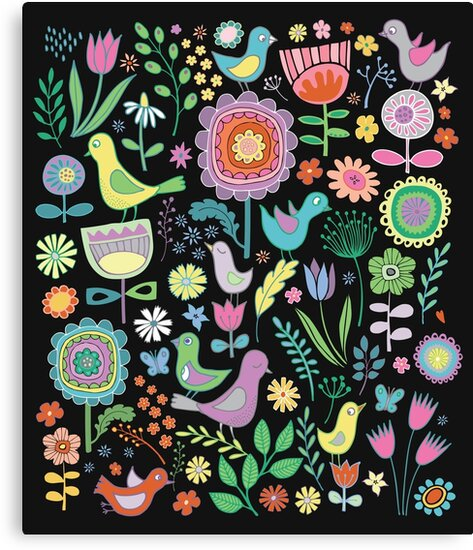 Birds and blooms - pastels on black - pretty floral bird pattern by Cecca Designs by Cecca-Designs