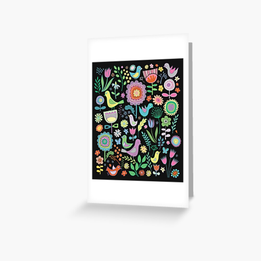 Birds and blooms - pastels on black - pretty floral bird pattern by Cecca Designs Greeting Card