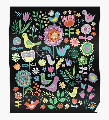 Birds and blooms - pastels on black - pretty floral bird pattern by Cecca Designs Poster