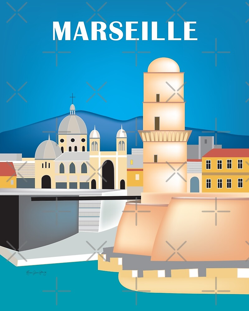 Marseille, France - Skyline Illustration by Loose Petals by LoosePetals