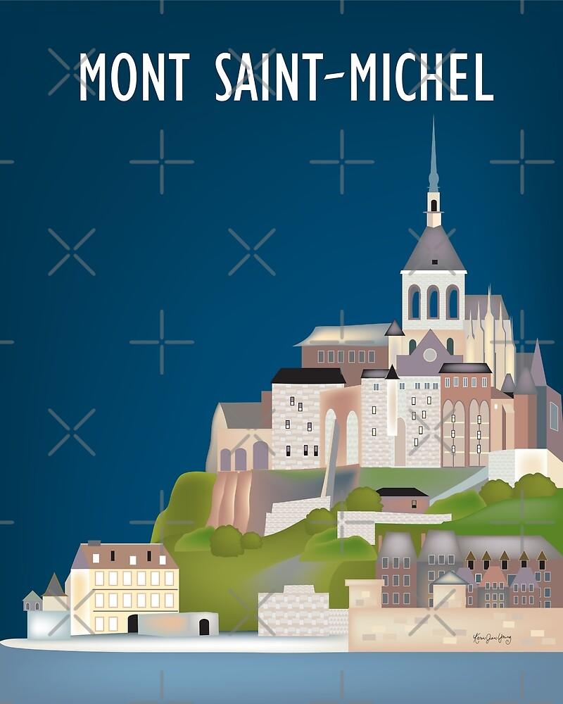 Mont Saint-Michel, France - Skyline Illustration by Loose Petals by LoosePetals