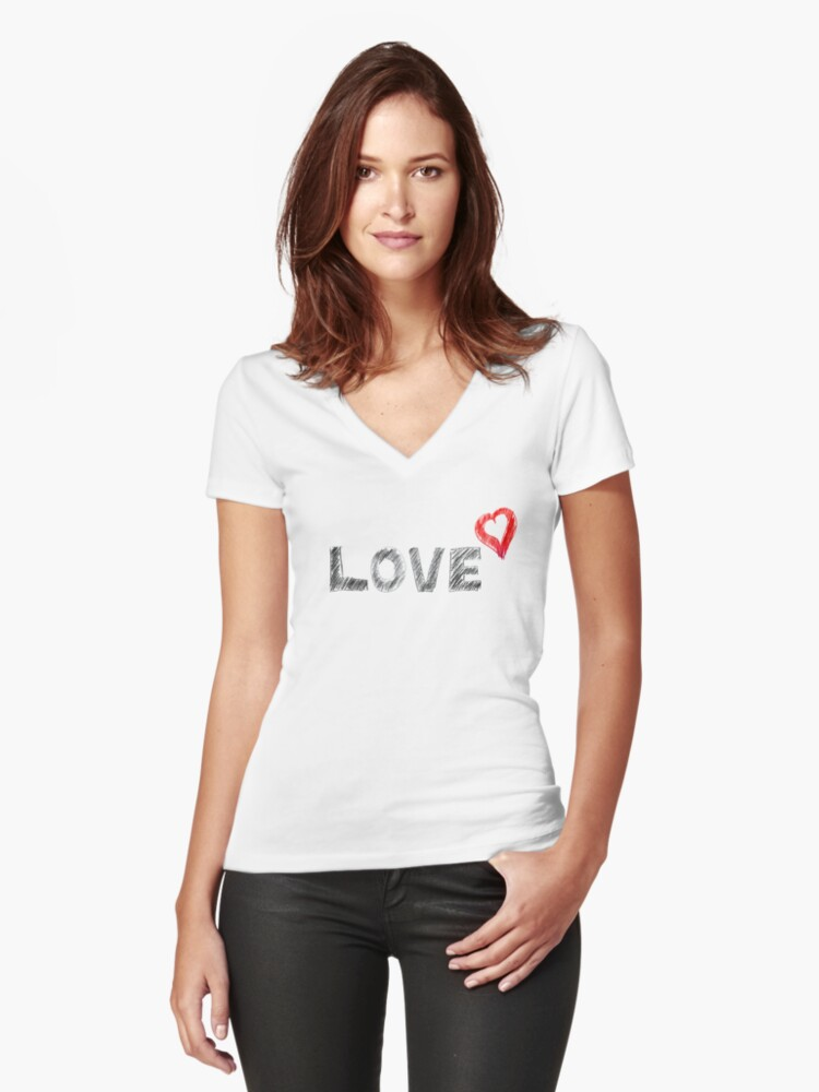 Love Women's Fitted V-Neck T-Shirt Front