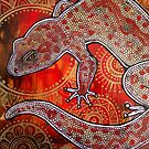 Gecko on Red and Gold by Lynnette Shelley