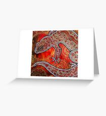 Gecko on Red and Gold Greeting Card