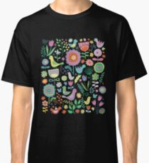 Birds and blooms - pastels on black - pretty floral bird pattern by Cecca Designs Classic T-Shirt