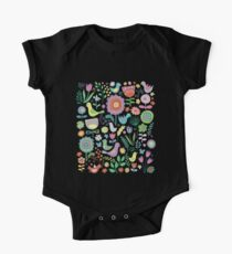 Birds & blooms - pastels on black Kids Clothes