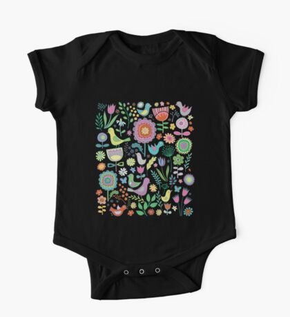 Birds and blooms - pastels on black - pretty floral bird pattern by Cecca Designs Kids Clothes