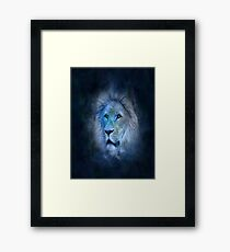 lion, smoke, ghost, abstract, colorful, waves, white, neon, fractal, psychedelic, art, wild, black Framed Print