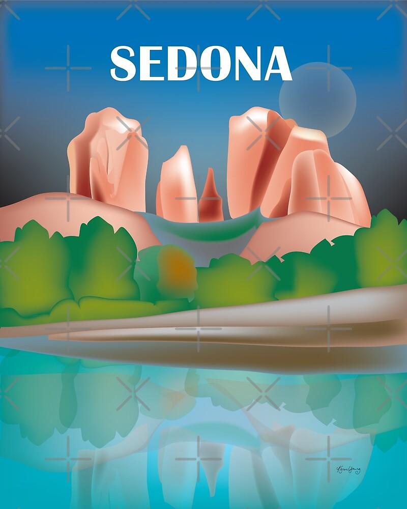 Sedona, Arizona - Skyline Illustration by Loose Petals by LoosePetals