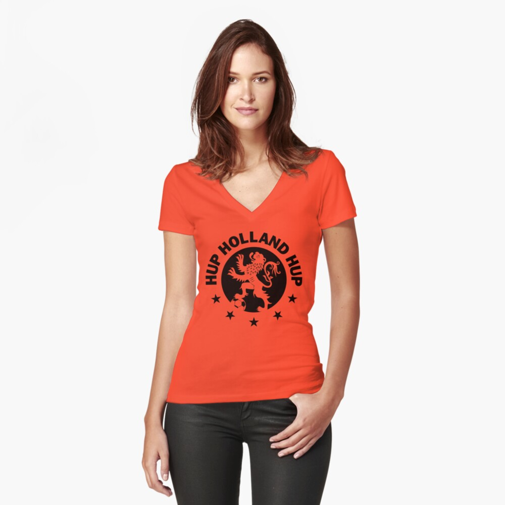 Hup Holland Orange Dutch Soccer Lion Netherlands Football Women's Fitted V-Neck T-Shirt Front